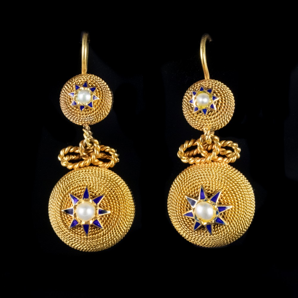 antique victorian pearl drop earrings 18ct gold circa 1900