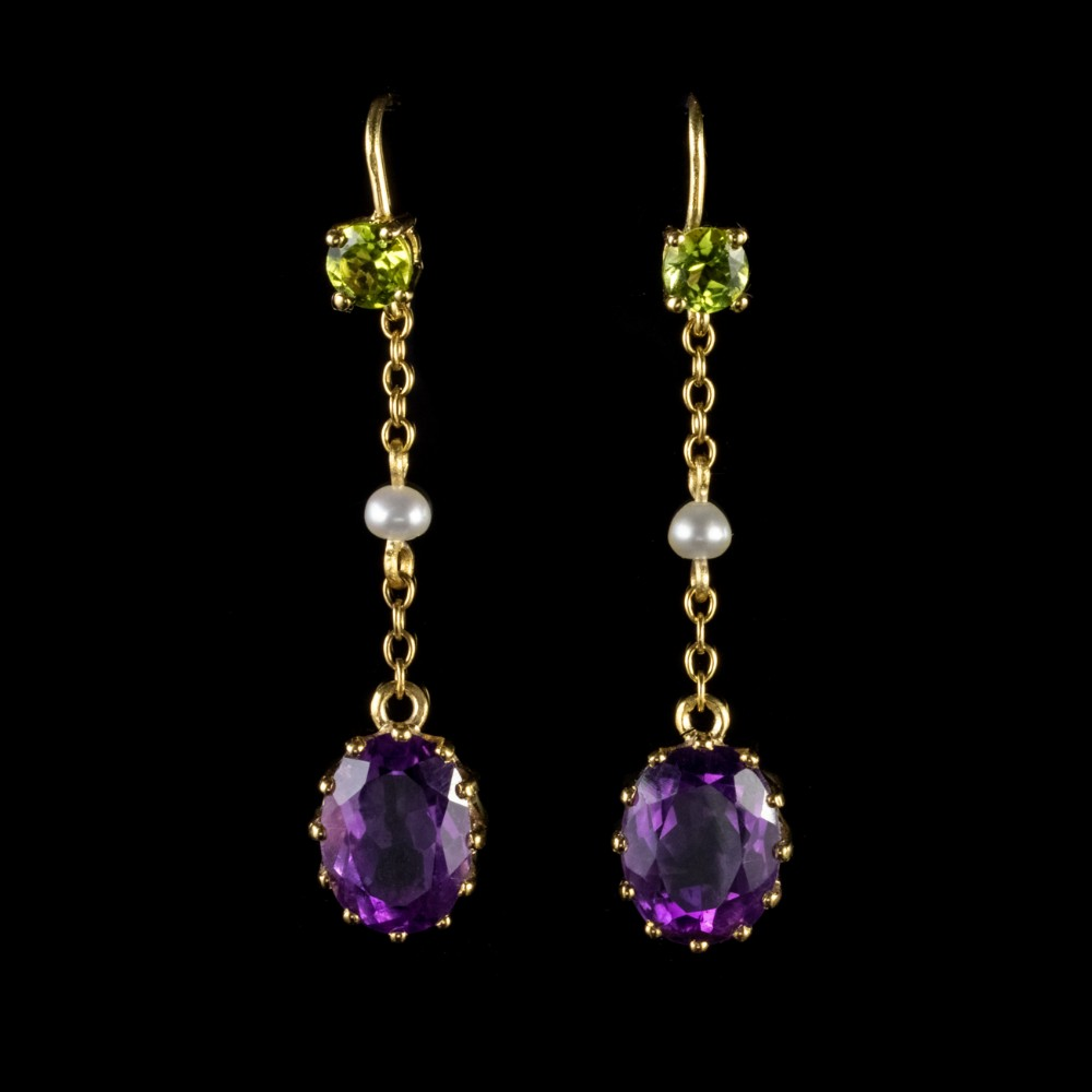 antique edwardian suffragette dangle earrings 9ct gold circa 1915