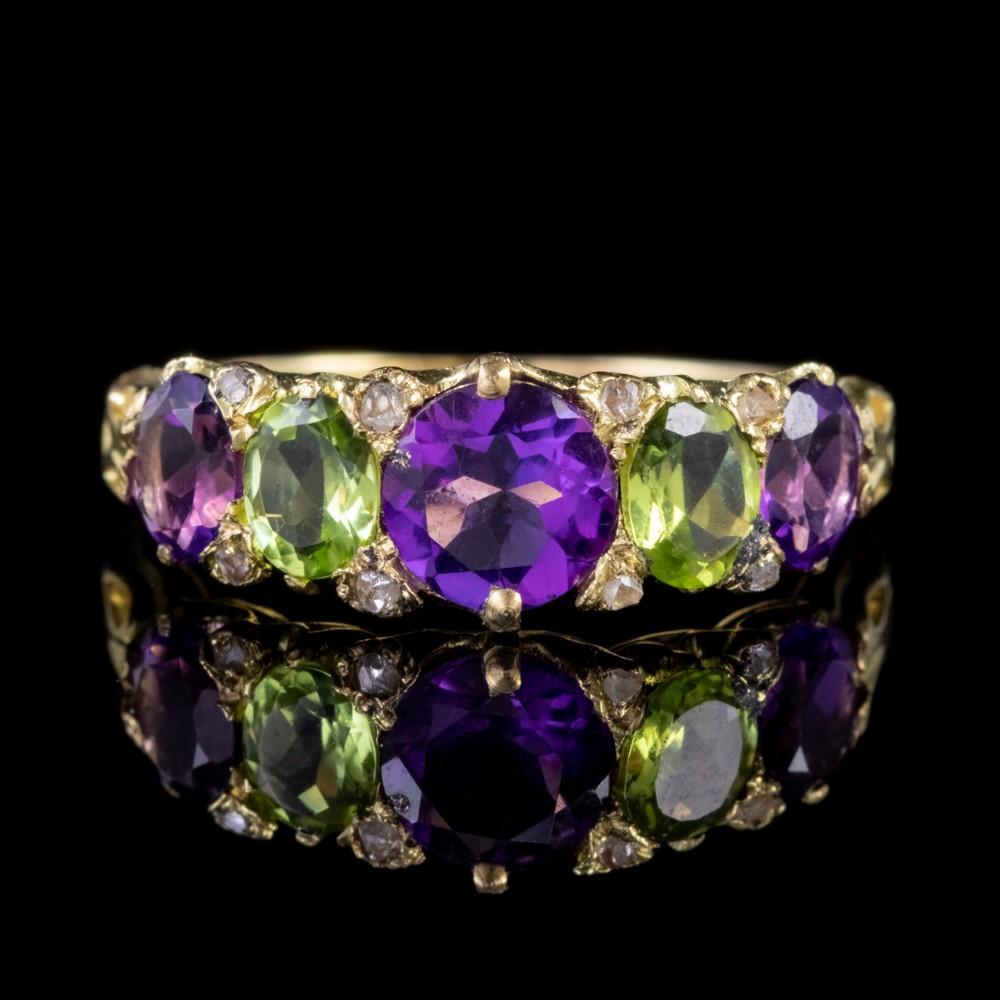 antique suffragette edwardian amethyst peridot ring 18ct gold circa 1910