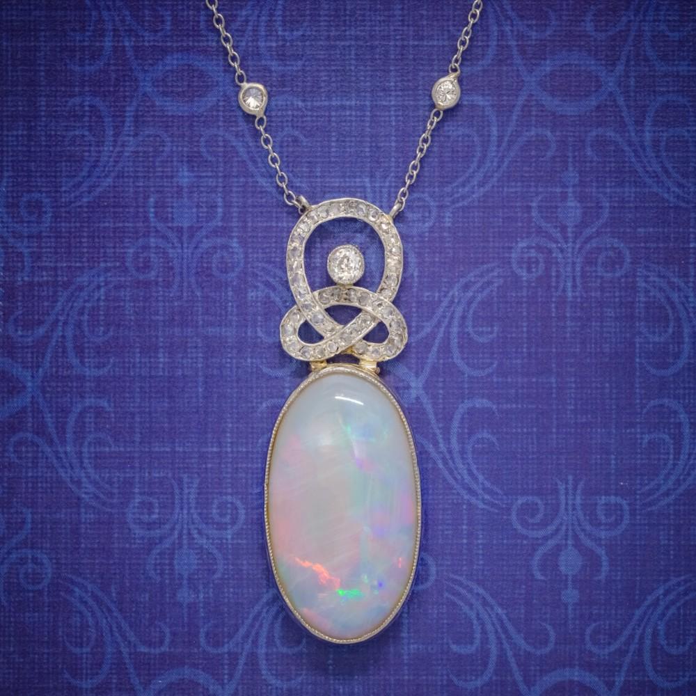 art deco opal diamond pendant necklace 18ct gold platinum 15ct opal circa 1930 boxed