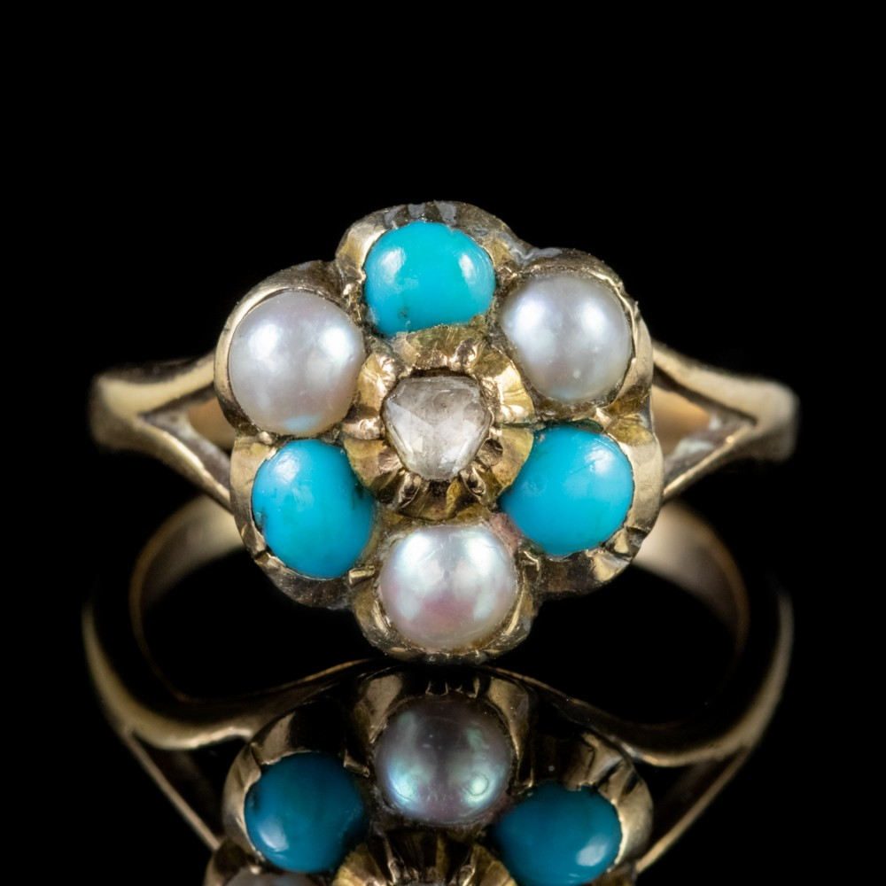 antique victorian turquoise pearl cluster ring 9ct gold georgian face circa 1880