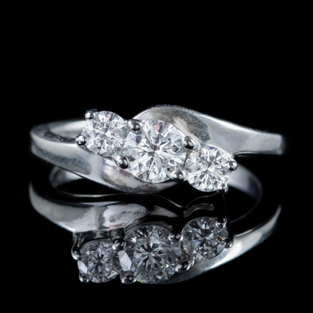 vintage diamond trilogy ring 18ct white gold 075ct diamond circa 1920