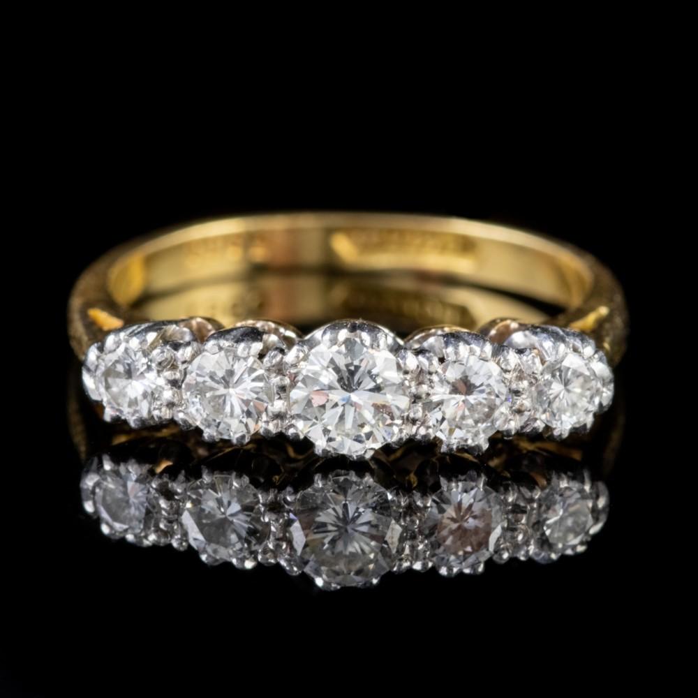 antique edwardian five stone diamond ring 18ct gold platinum circa 1905