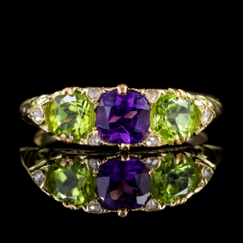 antique edwardian 18ct gold suffragette ring peridot amethyst diamond circa 1915