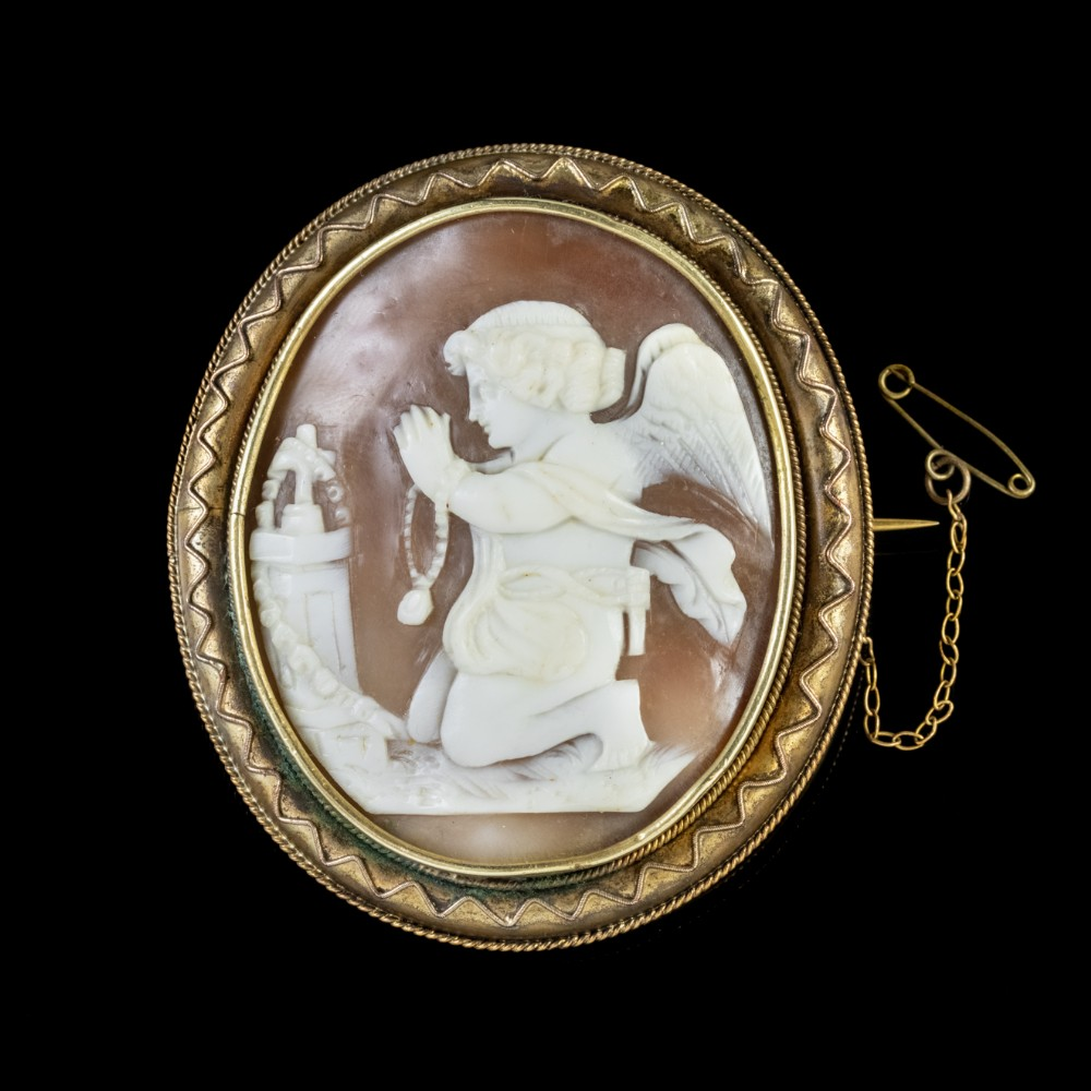 antique victorian cameo brooch praying angel circa 1860