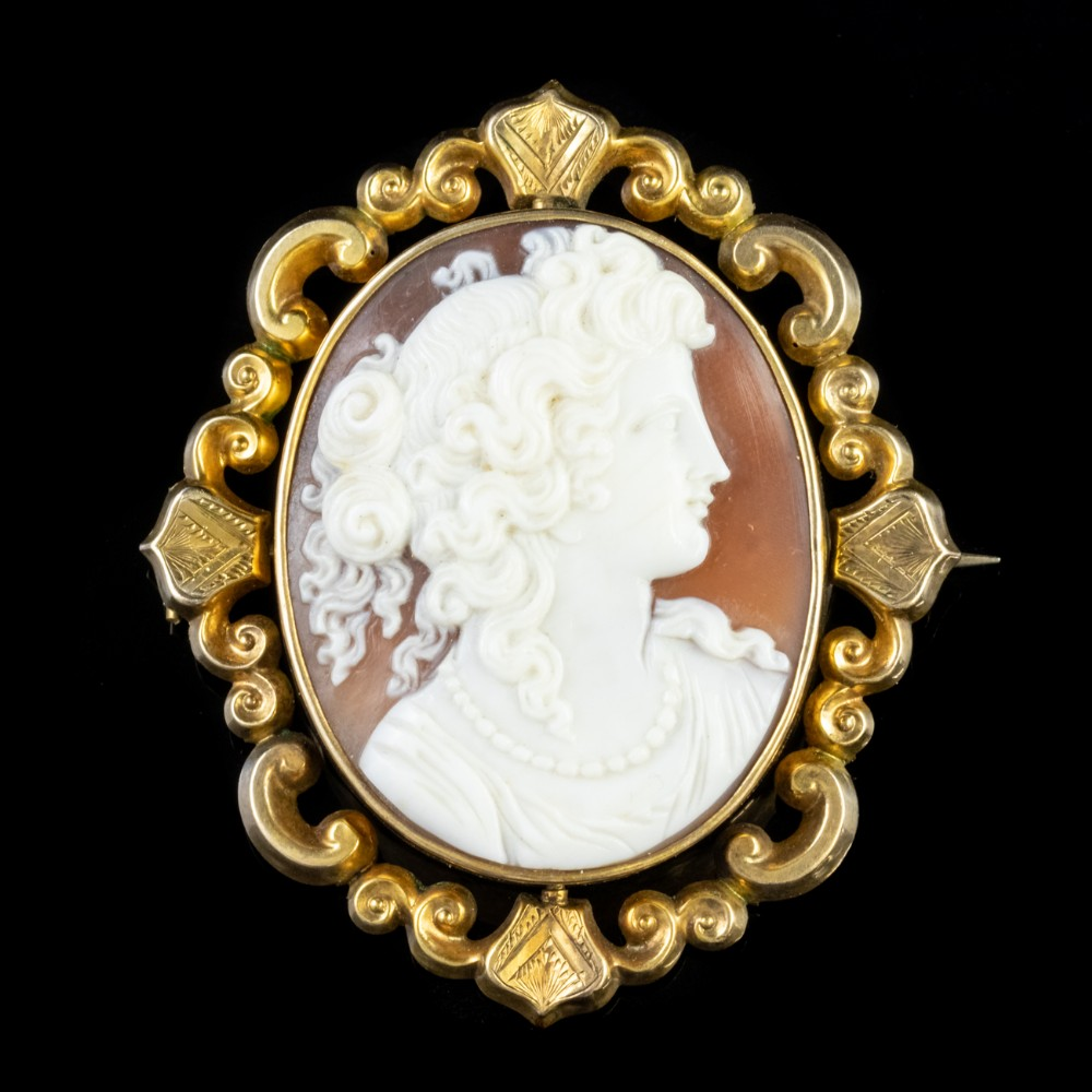 antique victorian cameo swivel brooch locket 9ct gold circa 1860