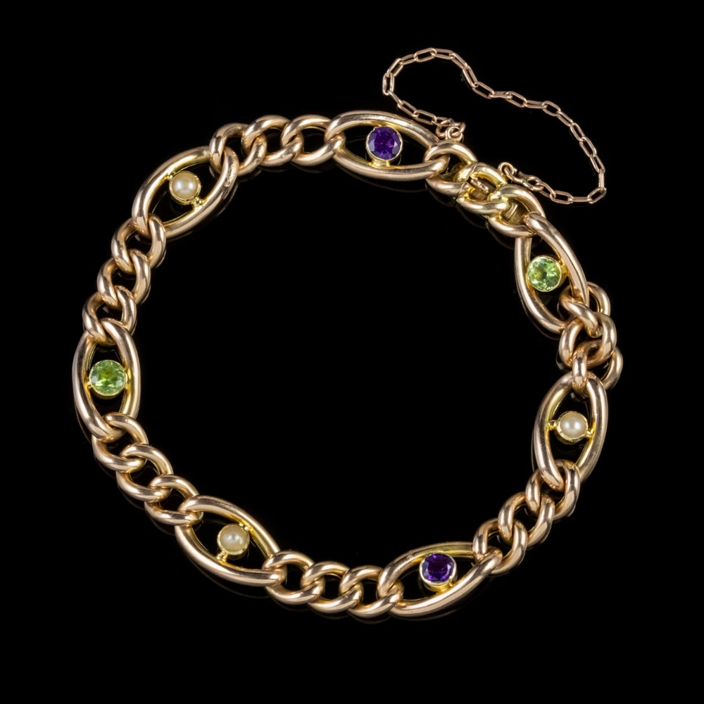 antique suffragette curb bracelet 15ct gold edwardian circa 1915