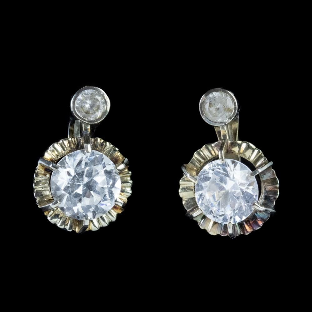 vintage 44ct white topaz french drop earrings circa 1930