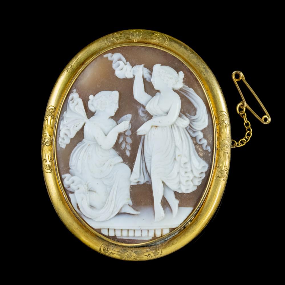 antique victorian bullmouth shell cameo brooch circa 1860
