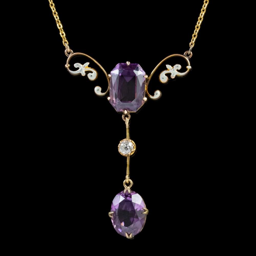 antique victorian amethyst diamond lavaliere necklace 9ct gold circa 1900