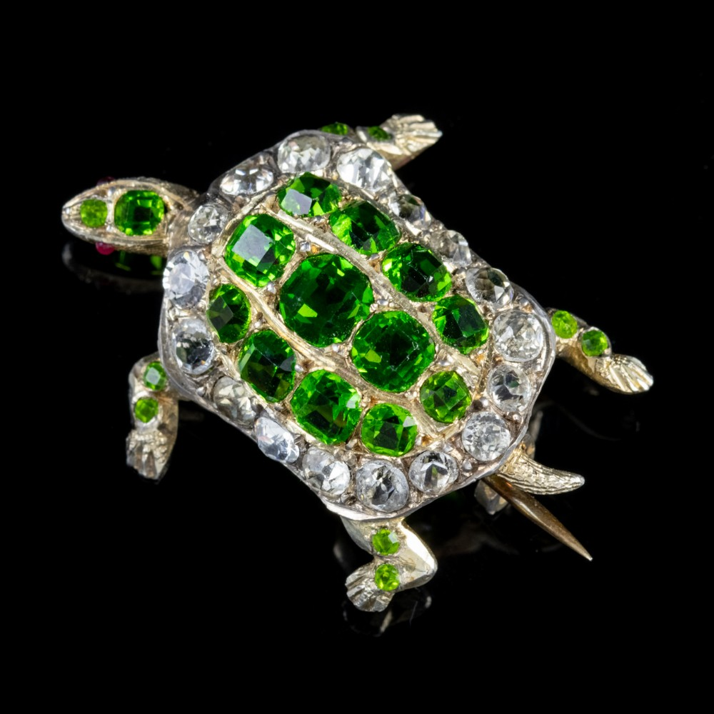 antique victorian french tortoise green white paste brooch circa 1900