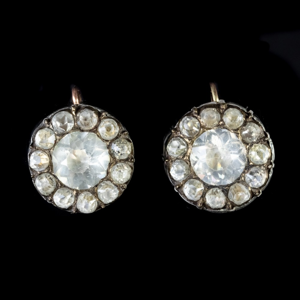 antique georgian paste earrings silver 18ct gold circa 1810