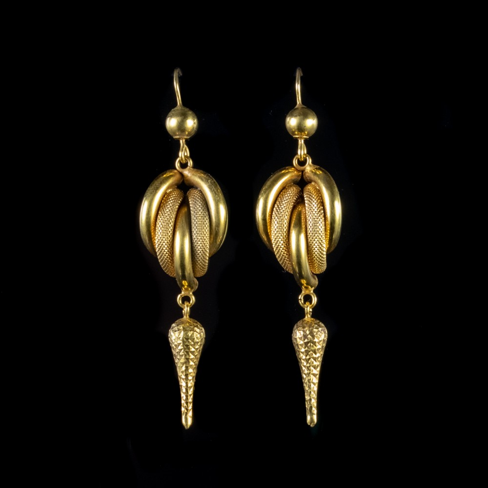 antique victorian earrings 18ct gold circa 1900