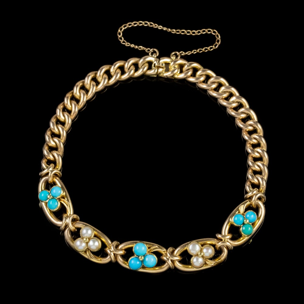 antique victorian turquoise pearl shamrock curb bracelet 15ct gold circa 1880