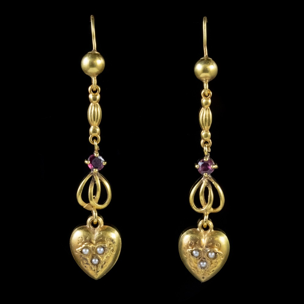 antique victorian heart drop earrings ruby pearl 15ct gold circa 1880