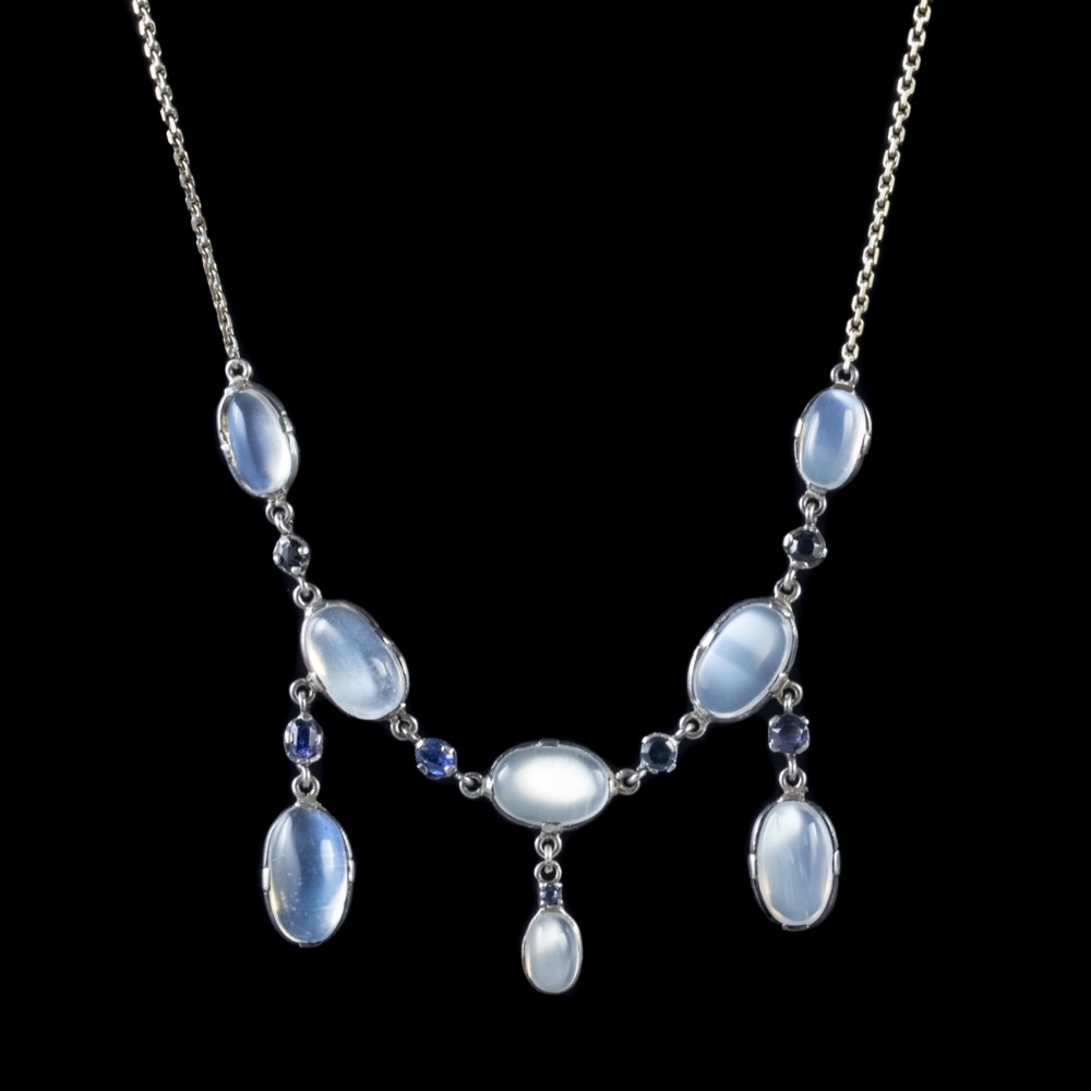 antique victorian moonstone necklace sterling silver circa 1900