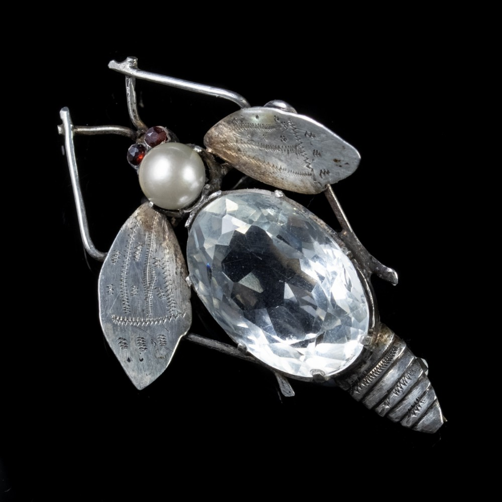 antique art deco rock crystal garnet insect brooch silver circa 1920