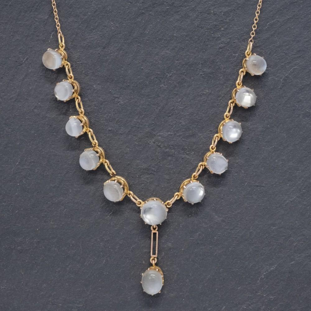 antique victorian moonstone necklace 9ct gold circa 1900