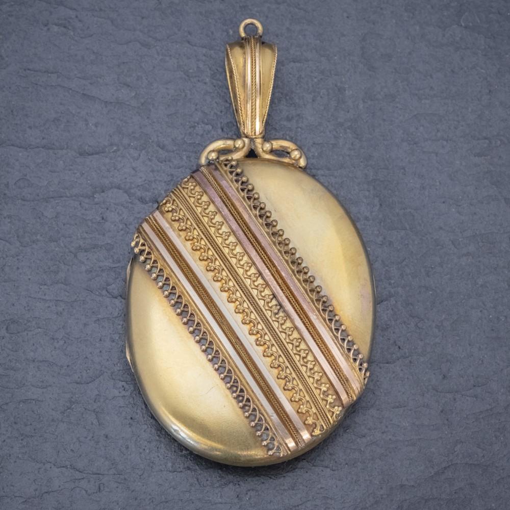 antique victorian etruscan revival locket 18ct gold circa 1880