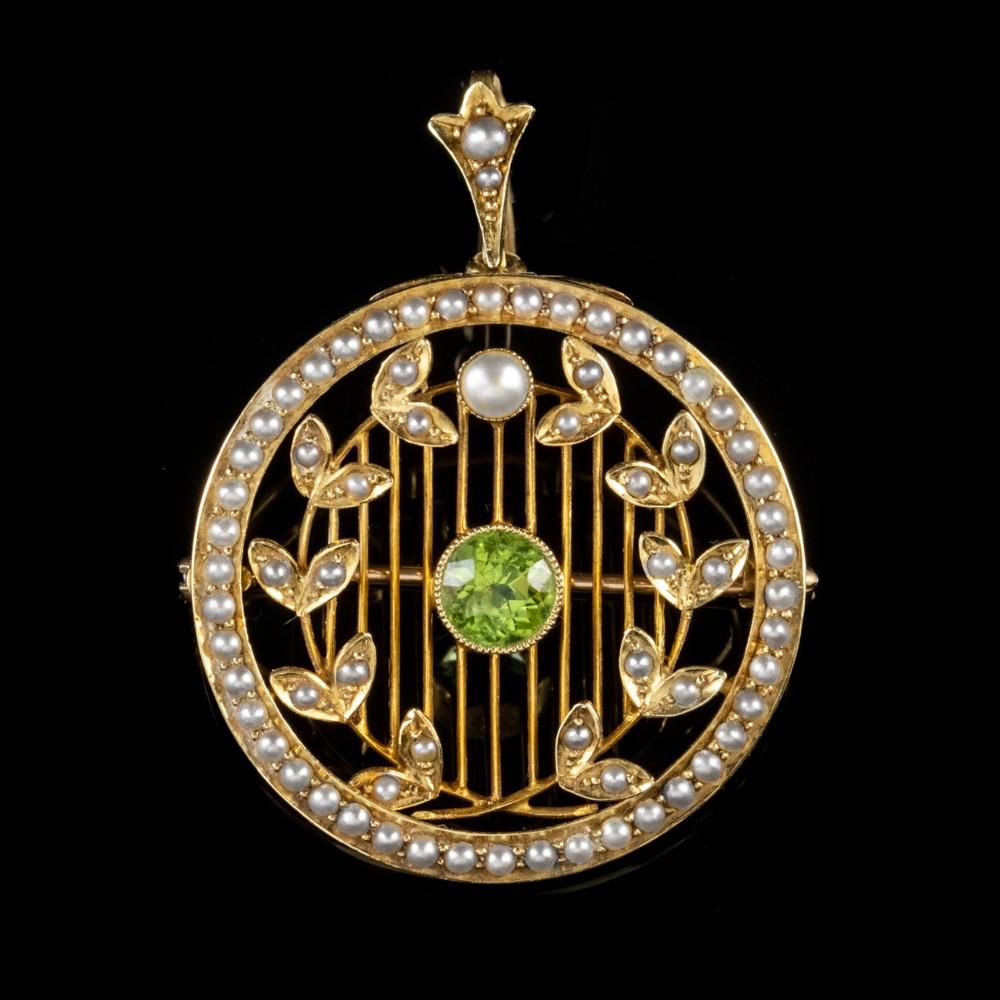 antique victorian 075ct peridot pendant brooch 15ct gold circa 1900