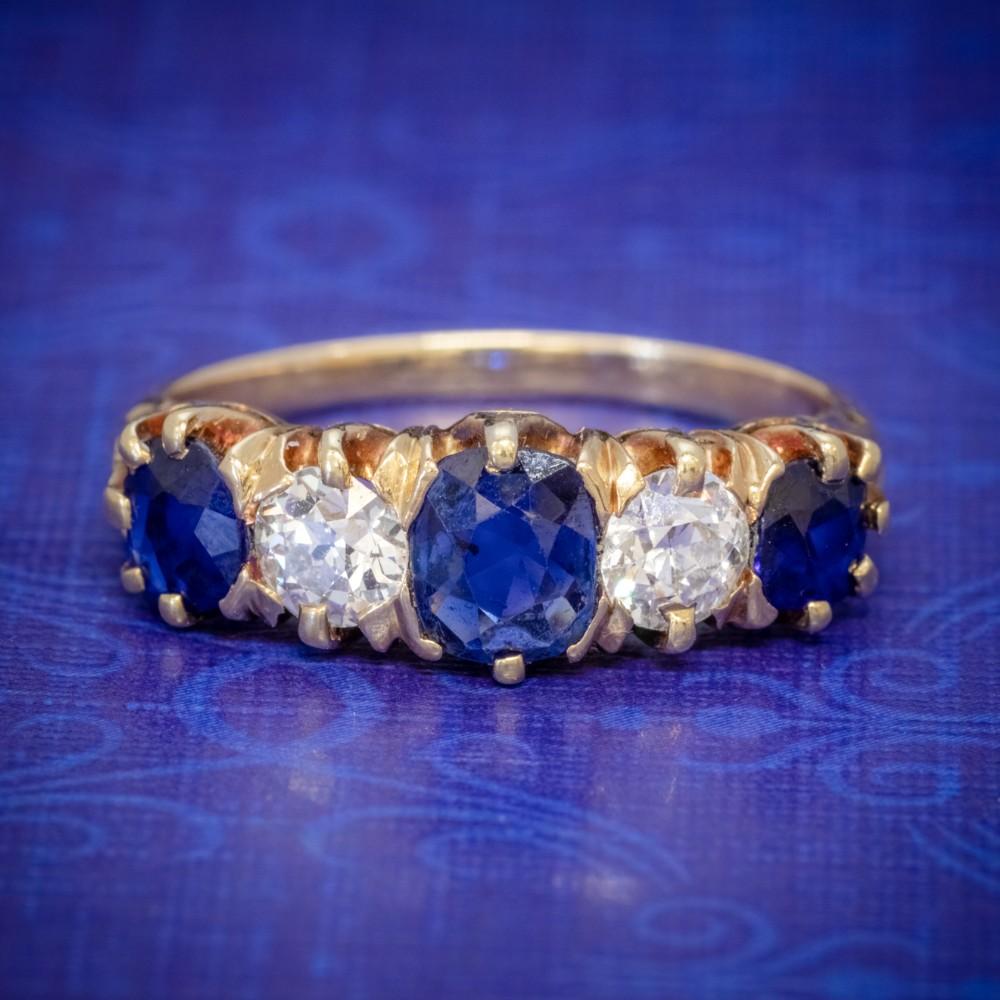 antique victorian sapphire diamond ring 18ct gold 120ct sapphire circa 1900