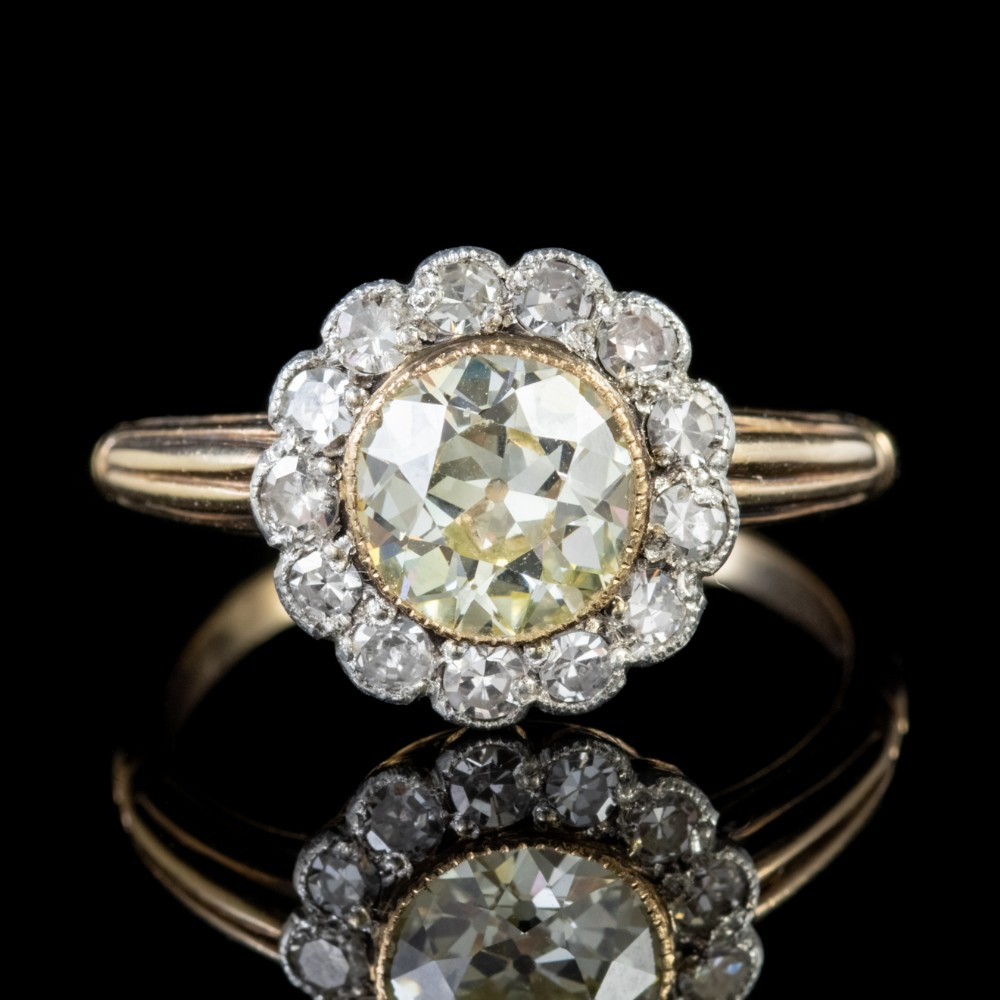 antique victorian 215ct fancy champagne diamond cluster ring 15ct gold circa 1900