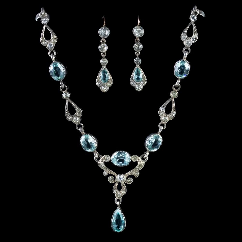 antique edwardian silver lavaliere necklace earring set circa 1905