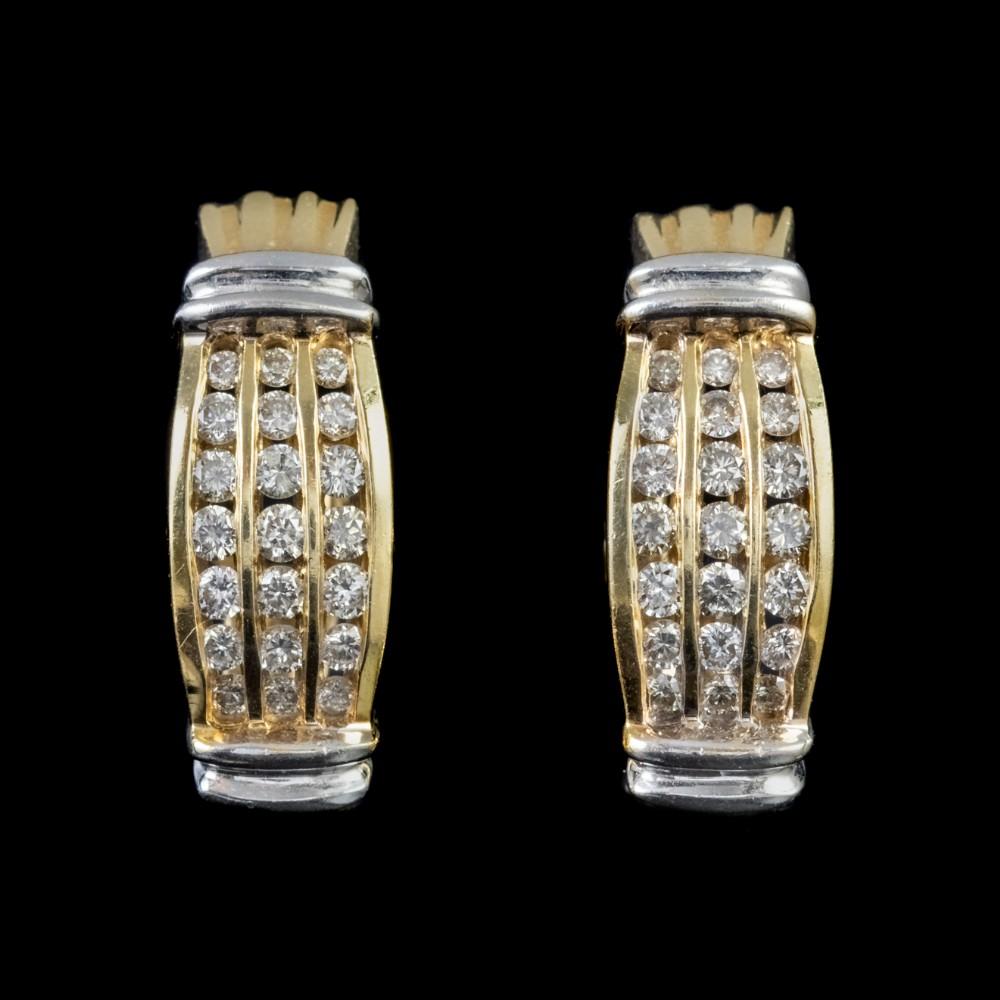 vintage diamond half hoop cluster earrings 18ct gold 126ct of diamond
