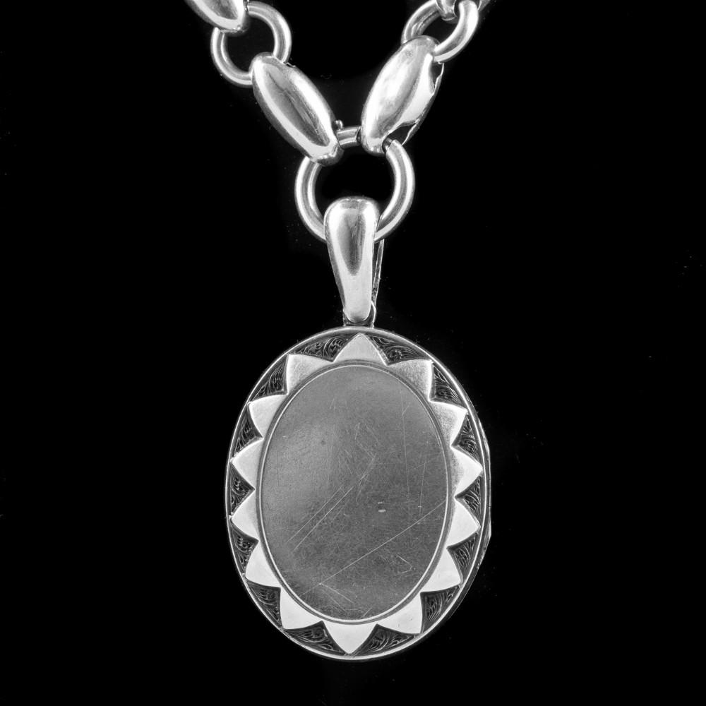 antique victorian locket collar necklace sterling silver circa 1880