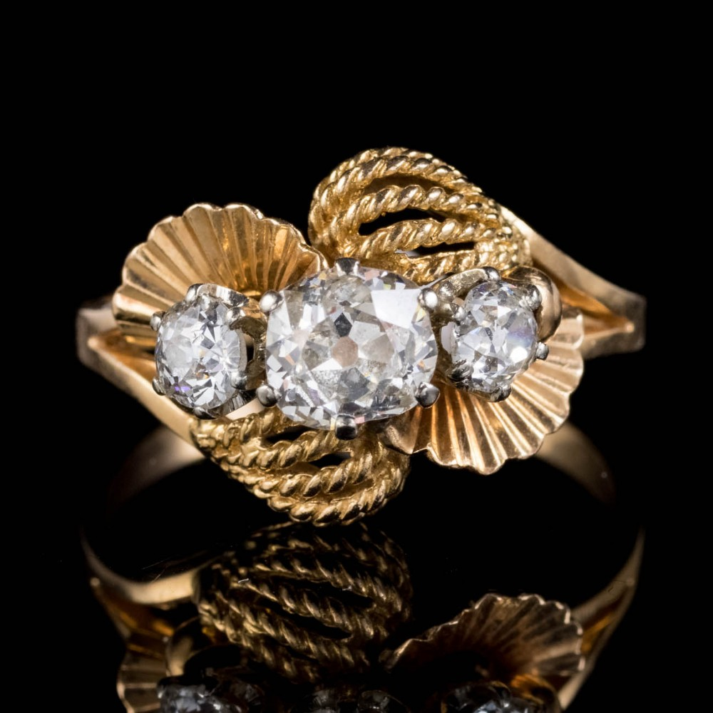 vintage french old cut diamond trilogy ring 18ct gold 120ct diamond circa 1930