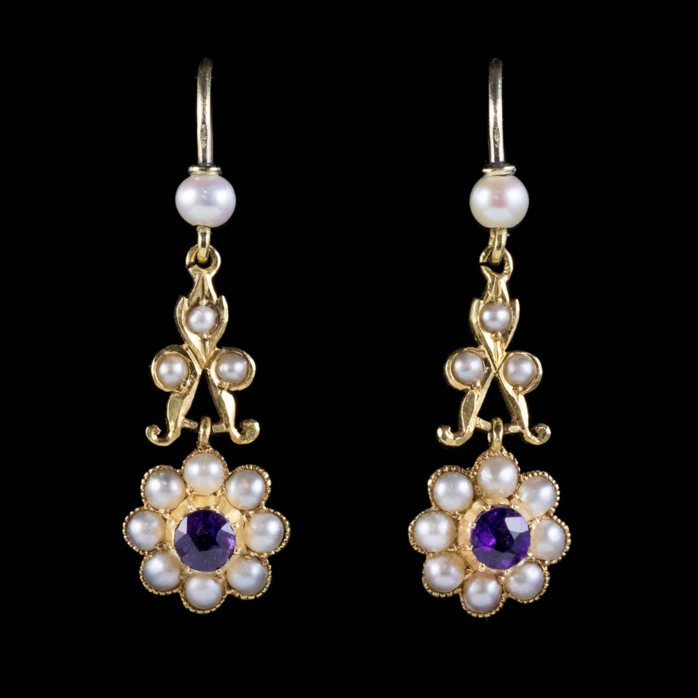 antique victorian floral amethyst pearl cluster drop earrings 18ct gold circa 1900