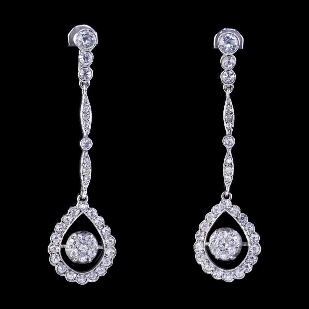 art deco paste drop earrings sterling silver ciro circa 1930 boxed