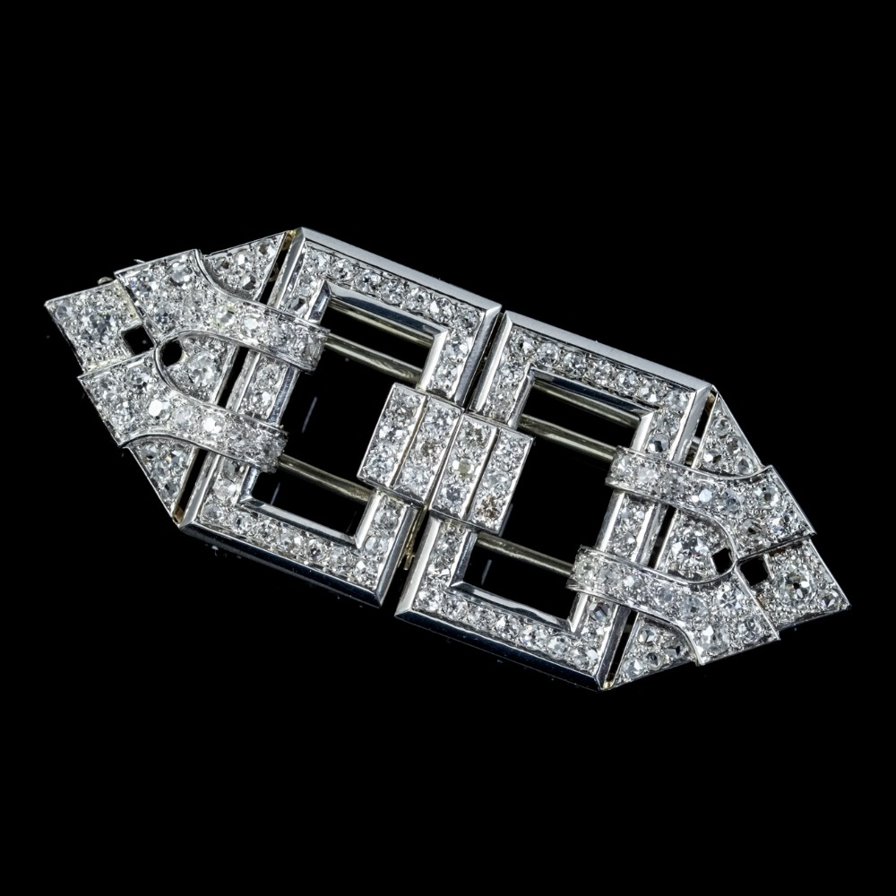 art deco french diamond double clip brooch 18ct gold 3ct diamonds boxed circa 1930