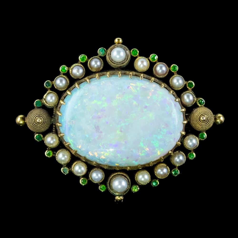 antique victorian natural opal green garnet pearl brooch 15ct gold 25ct opal circa 1900