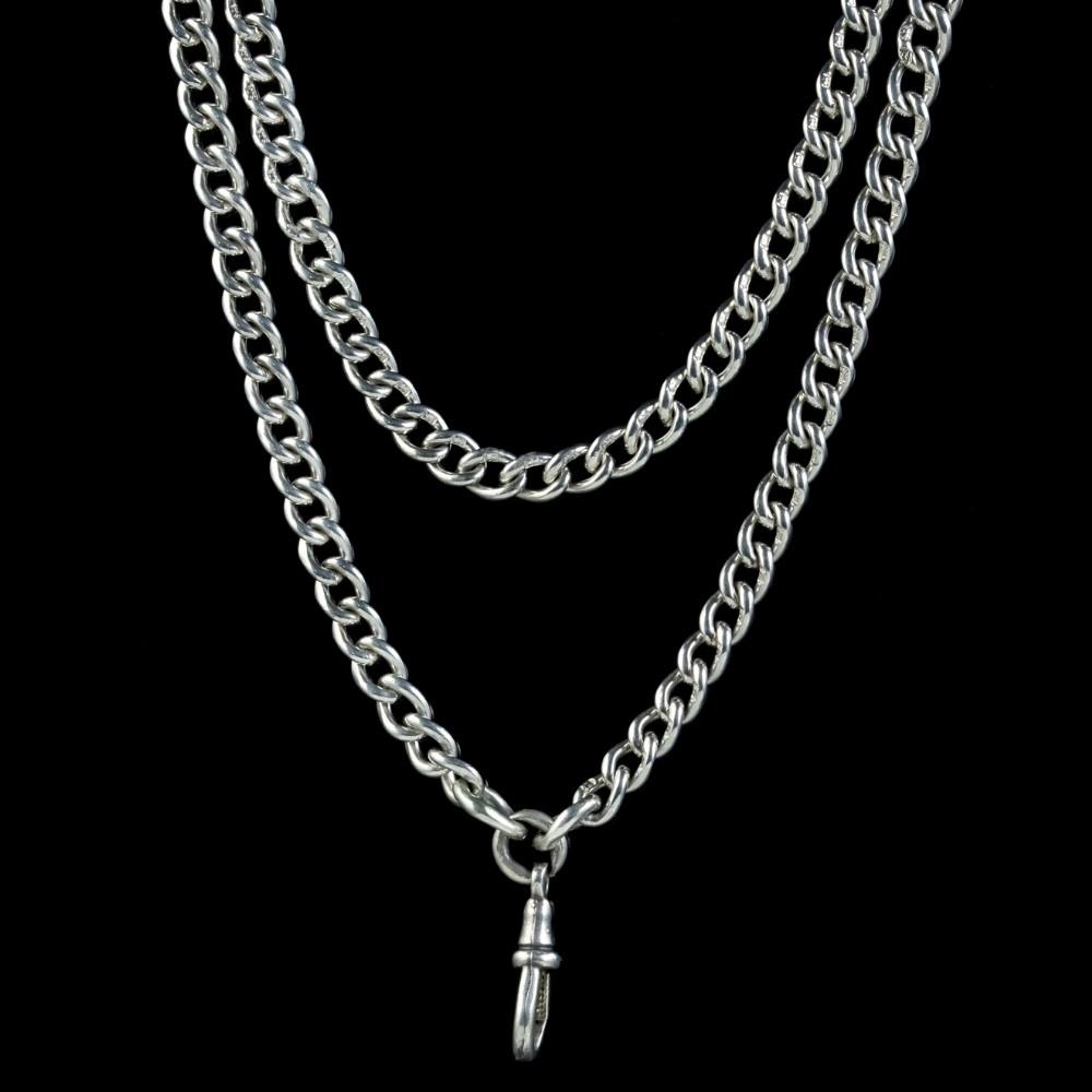 antique victorian long curb guard chain sterling silver circa 1900