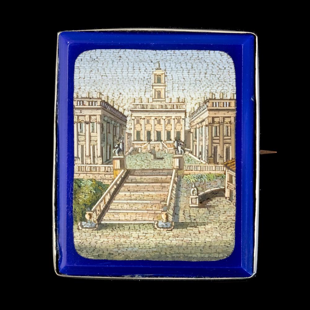 antique victorian micro mosaic brooch 18ct gold circa 1860 boxed