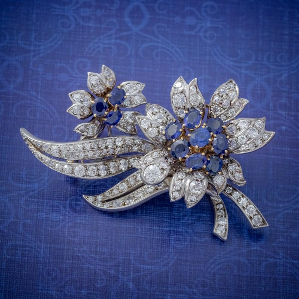 vintage sapphire diamond spray flower brooch 18ct gold 4ct of diamonds circa 1960
