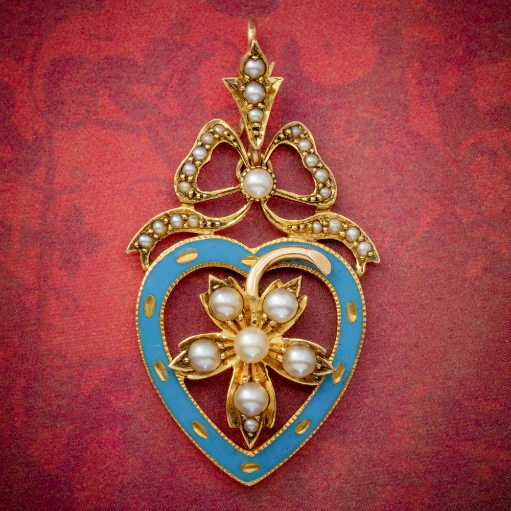 antique edwardian pearl heart pendant brooch 15ct gold blue enamel circa 1905 boxed