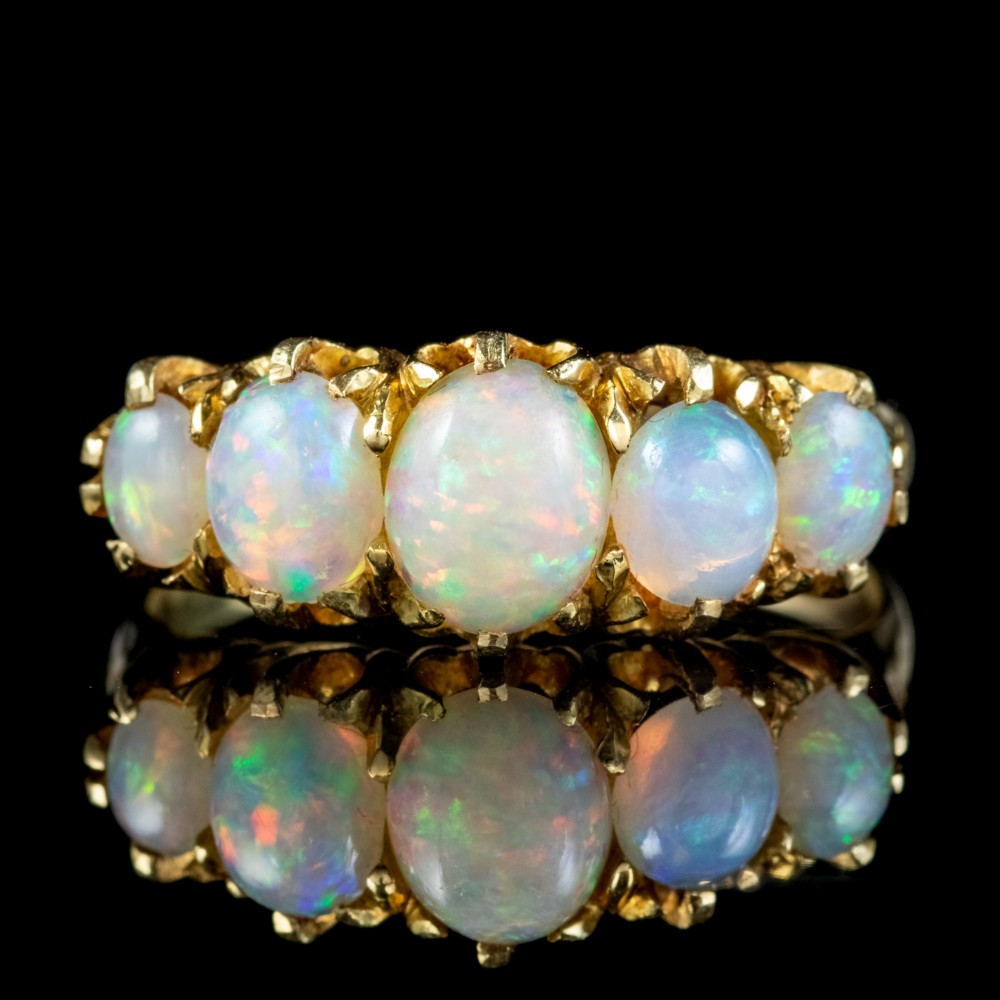 antique victorian opal five stone ring 18ct gold 220ct of opal circa 1900