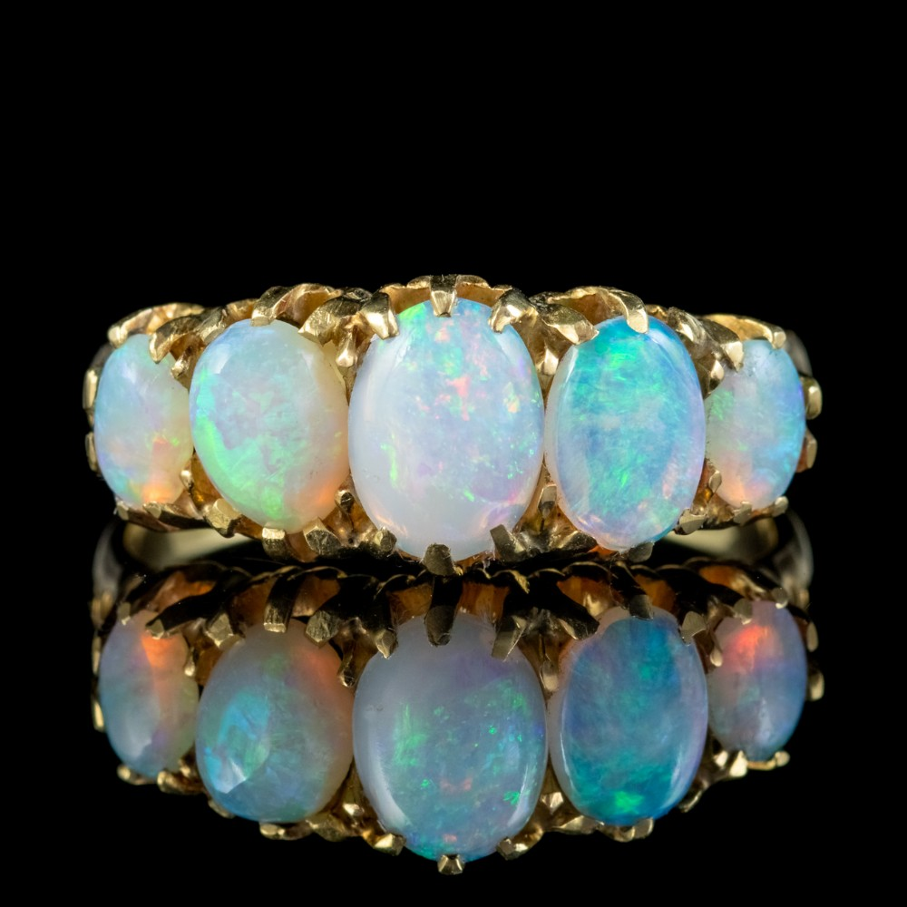 antique victorian opal five stone ring 18ct gold 4ct of opal circa 1880