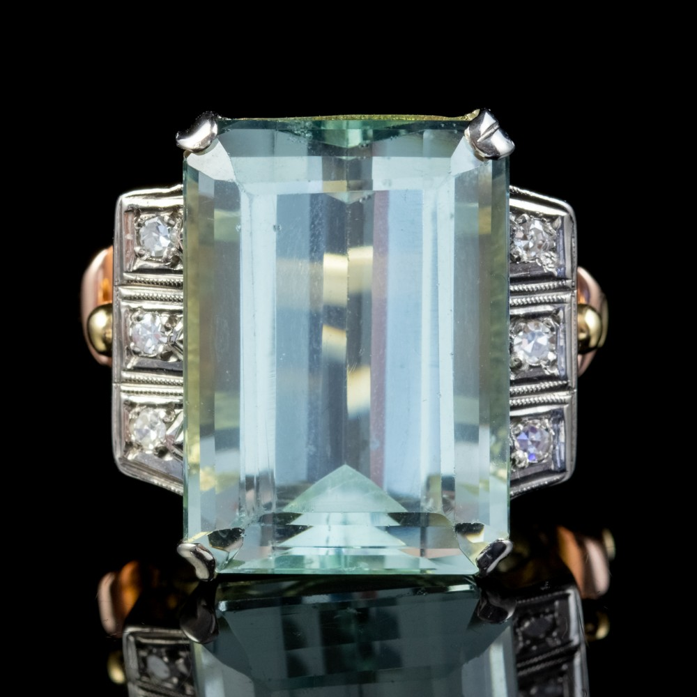 art deco aquamarine diamond ring 18ct gold 16ct emerald cut aqua circa 1930