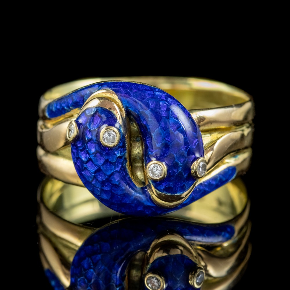 antique victorian diamond blue enamel snake ring 18ct gold dated 1894