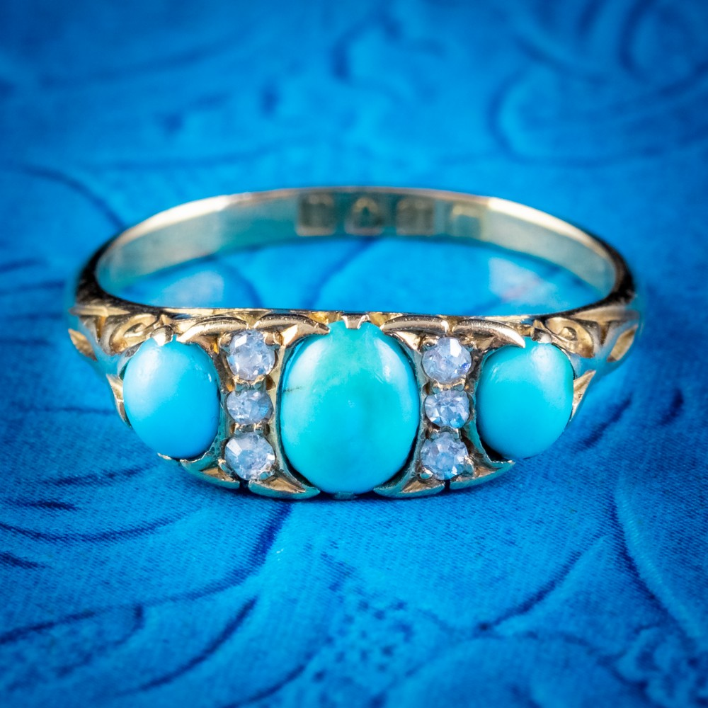 antique edwardian turquoise diamond ring 18ct gold dated 1915