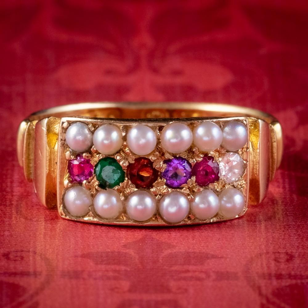 antique victorian gemstone regard ring 18ct gold dated 1882