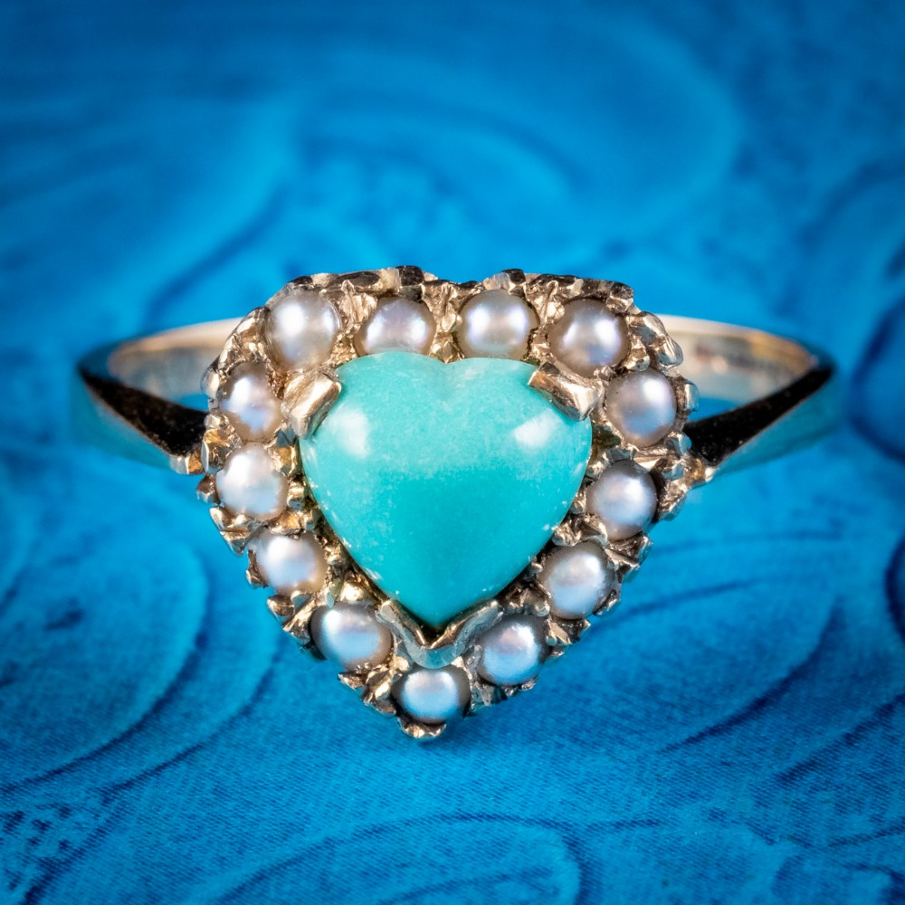 antique victorian turquoise pearl heart ring 9ct gold circa 1900