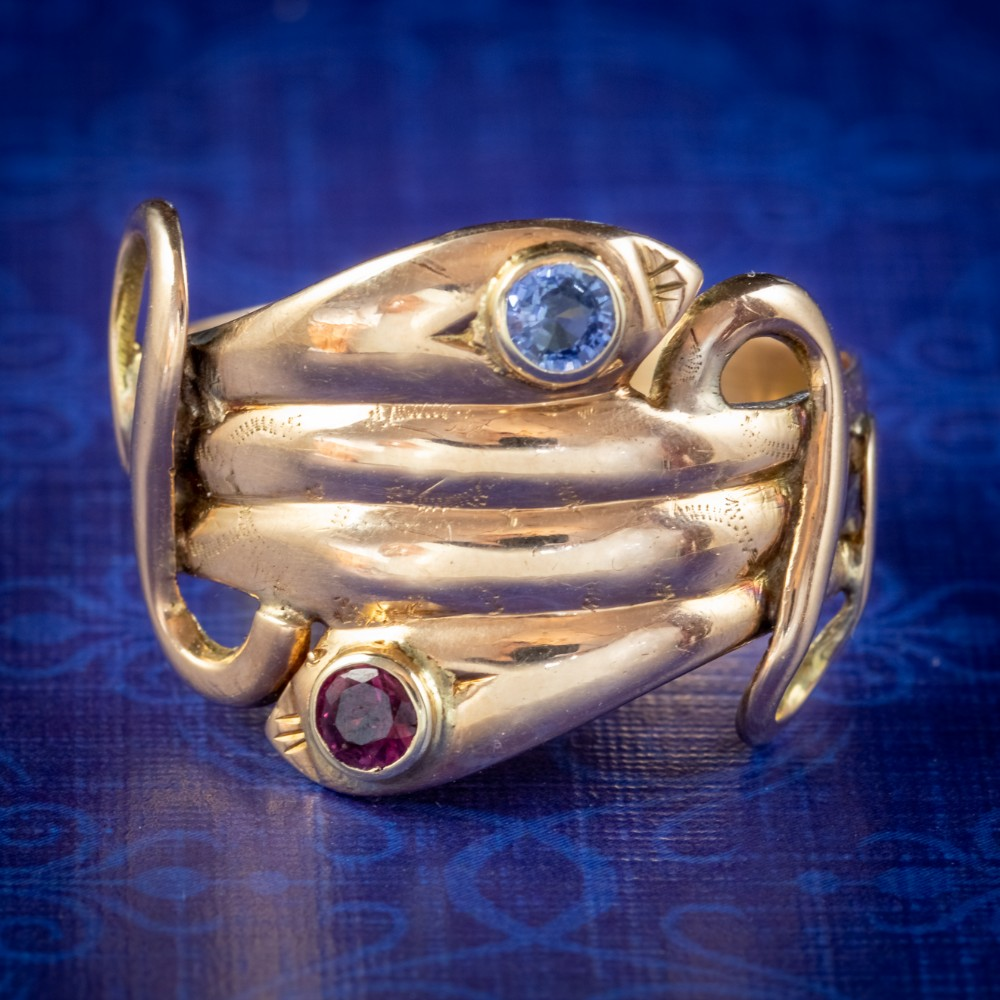 antique victorian sapphire ruby snake ring 18ct gold circa 1880