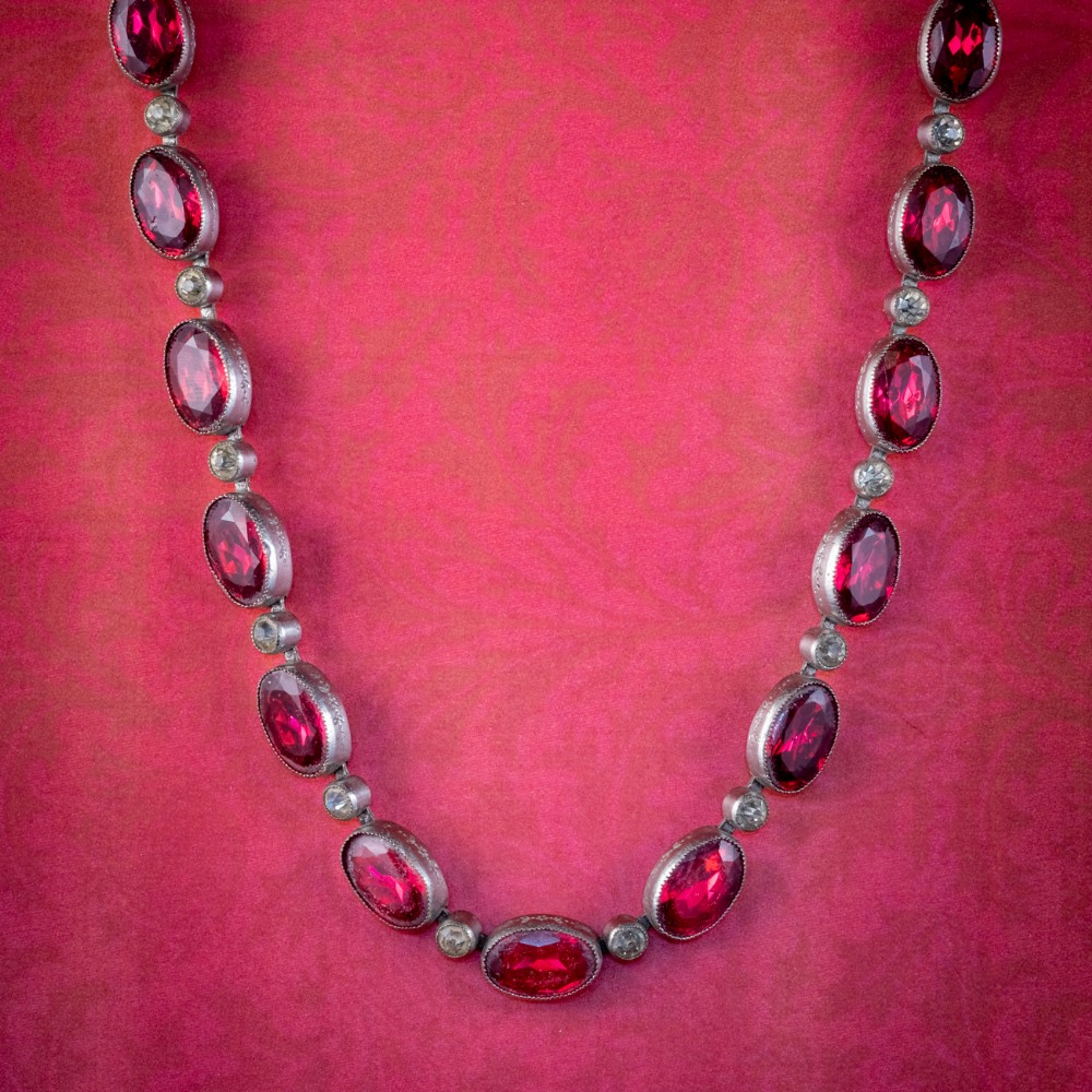 art deco red paste riviere necklace silver circa 1920