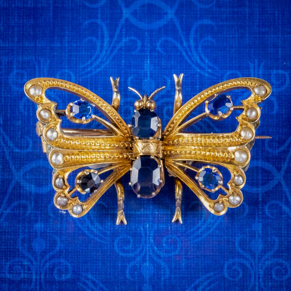 antique victorian sapphire pearl butterfly brooch 15ct gold 120ct sapphire circa 1890