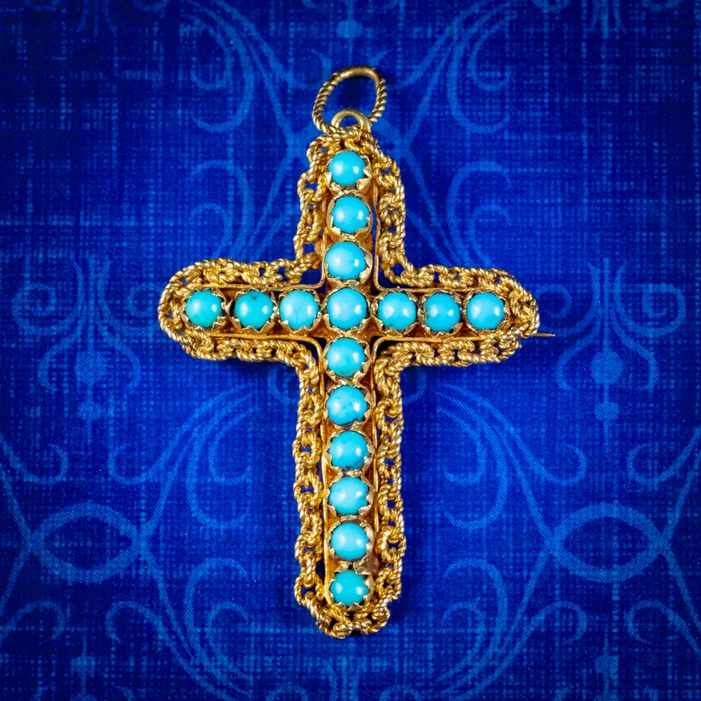 antique victorian turquoise cannetille cross pendant brooch 18ct gold circa 1860