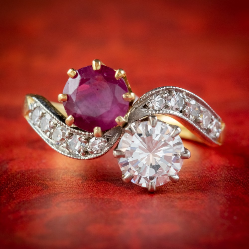 antique edwardian french 090ct ruby and diamond twist ring platinum 18ct gold circa 1901